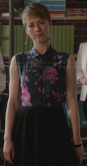Margaux's floral sleeveless shirt dress on Revenge