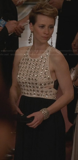 Margaux's navy and cream crystal studded gown on Revenge
