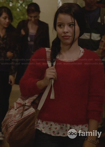 Callie's black illusion dress with white collar on The Fosters