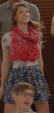 Marley's bicycle graphic tee and blue printed skirt on Glee