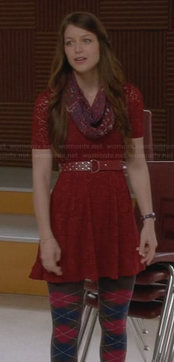 Marley's burgundy lace dress and argyle tights on Glee