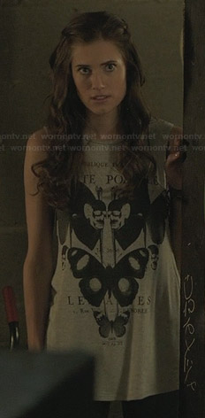 Marnie's butterfly and skull graphic tee on Girls
