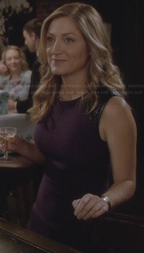 Maura's purple dress with leather shoulders on Rizzoli and Isles