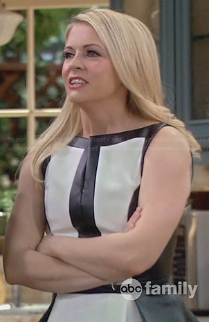 Mel's black and white leather peplum top on Melissa and Joey