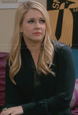 Mel's green blouse with leather shoulders and zip front on Melissa and Joey