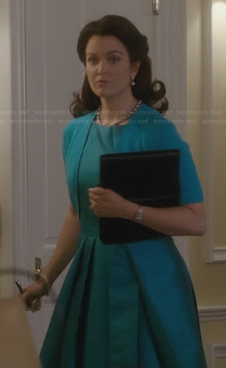 Mellie's turquoise blue fit and flare dress on Scandal