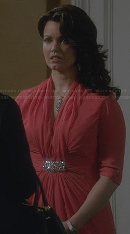 Mellie's coral gown on Scandal