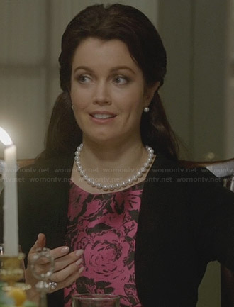 Mellie's pink and black floral dress on Scandal