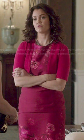 Mellie's pink floral pencil dress on Scandal