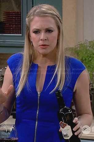 Mel's blue zip front peplum dress on Melissa and Joey