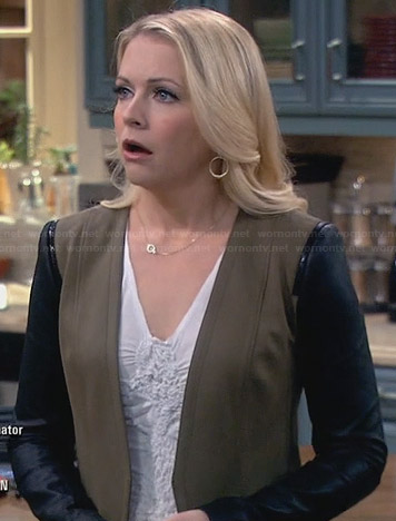 Mel's khaki jacket with leather sleeves on Melissa and Joey