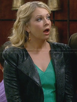 Mel's green perforated leather top and leather jacket on Melissa and Joey