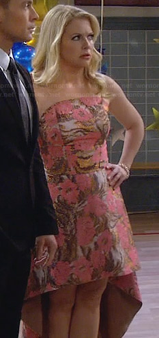 Mel's pink and gold strapless high-low dress on Melissa and Joey