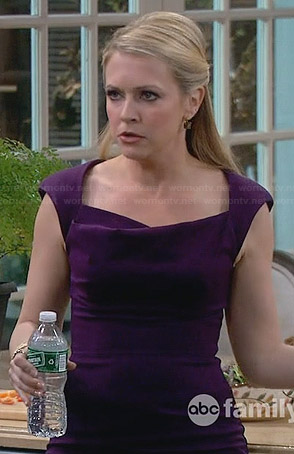 Mel's purple cowl neck pencil dress on Melissa & Joey
