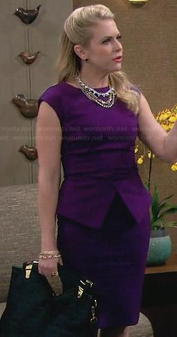 Mel's purple peplum dress on Melissa and Joey