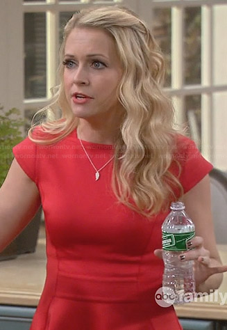 Mel's red capped sleeve skater dress on Melissa and Joey