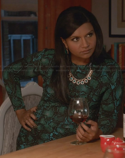Mindy's green snake print dress on The Mindy Project