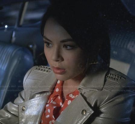 Mona's orange polka dot shirt and shimmery leather moto jacket on PLL
