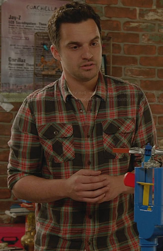 Nick's grey and orange plaid shirt on New Girl