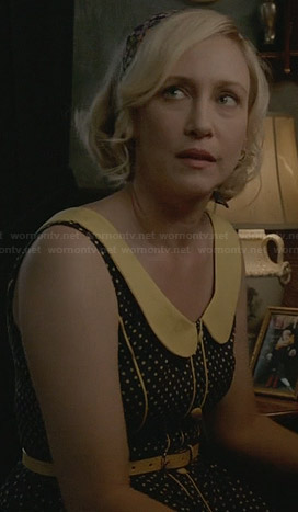 Norma's black and yellow polka dot retro dress on Bates Motel