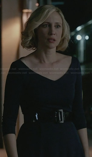 Norma's navy wide v-neck dress on Bates Motel