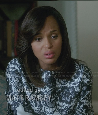 Olivia's black and white lace top on Scandal