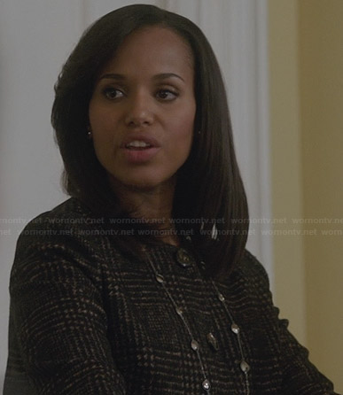 Olivia's brown checked jacket on Scandal