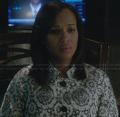 Olivia's white lace printed jacket on Scandal