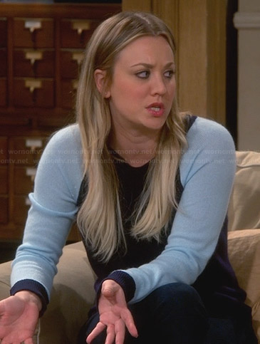 Penny's blue baseball sleeve sweater on The Big Bang Theory