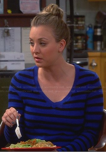 Penny's blue striped v-neck sweater on The Big Bang theory