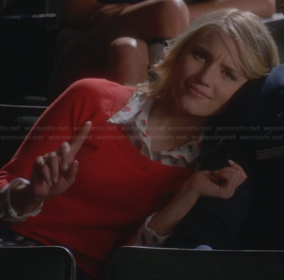 Quinn's red polka shirt and sweater on Glee