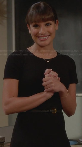 Rachel's black short sleeve dress on Glee