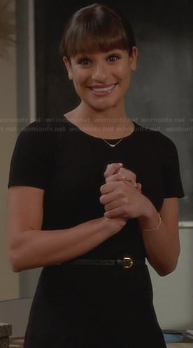 Rachel's solid black short sleeve dress on Glee