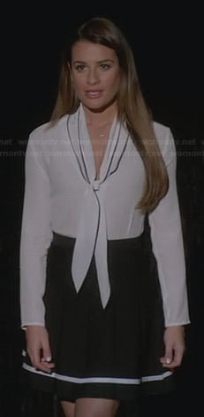 Rachel's black skirt with white stripe and white bow front blouse on Glee