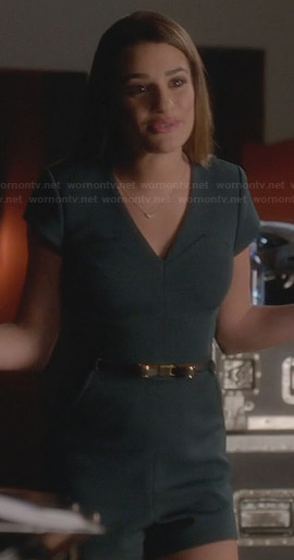 Rachel's green playsuit with bow belt on Glee