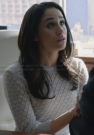 Rachel's grey pointelle sweater on Suits