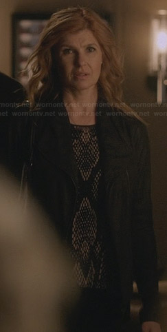Rayna's black snake print top on Nashville