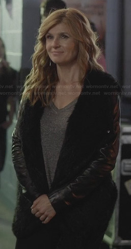 Rayna's black fur jacket with leather sleeves on Nashville