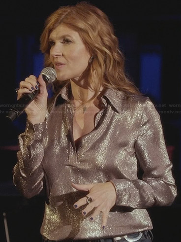 Rayna's metallic blouse on Nashville