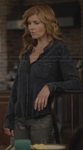 Rayna's black denim shirt and grey floral jeans on Nashville