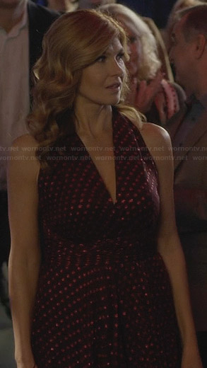 Rayna's purple polka dot v-neck dress on Nashville