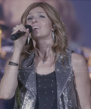 Rayna's black rhinestone studded top and sequinned moto vest on Nashville