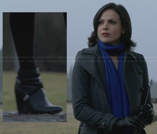 Regina's grey coat and wraparound ankle boots on Once Upon a Time