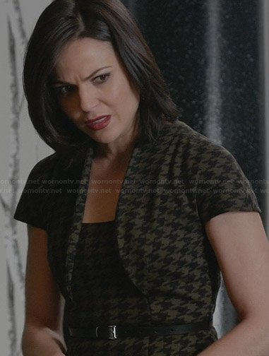 Regina's olive green houndstooth dress on OUAT