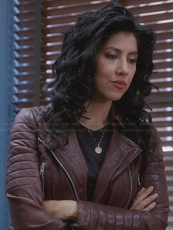 Rosa's burgundy leather jacket on Brooklyn Nine-Nine
