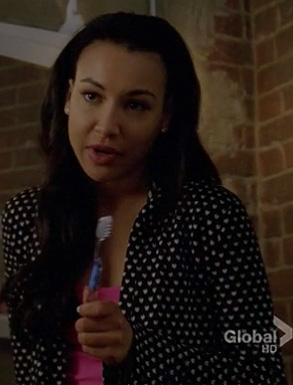 Santana's black and white heart print hooded bathrobe on Glee