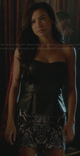 Santana's strapless leather peplum top and mirrored print skirt on Glee