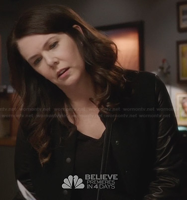 Sarah's black leather sleeve bomber jacket on Parenthood
