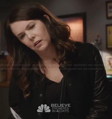Sarah's black leather sleeve jacket on Parenthood