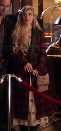 Scarlett's long red checked coat on Nashville